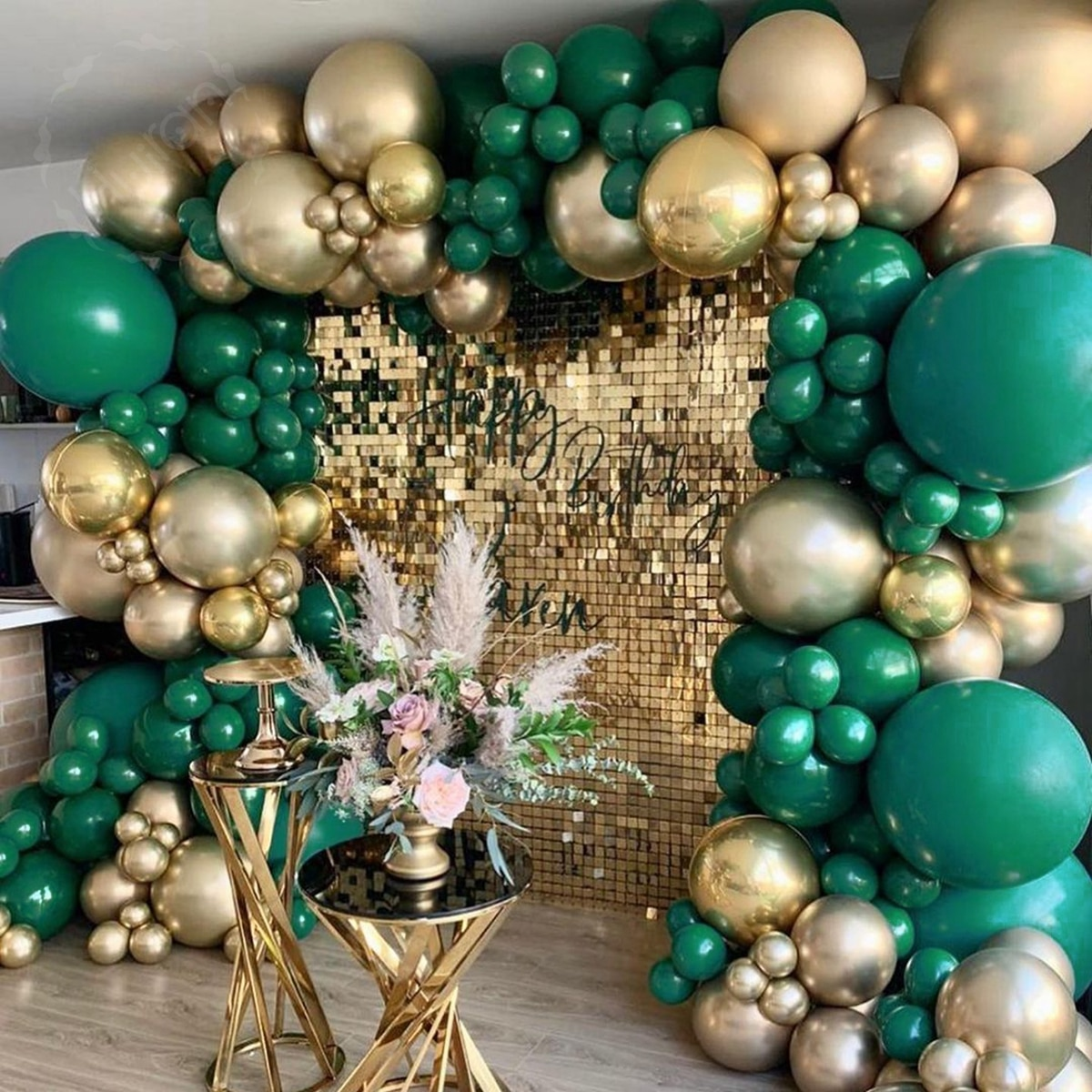 DIY Balloons Garland Arch Retro Skin Gold Dark Green for Wedding Bridal Baby Shower Party Birthday Festival Decoation Globals