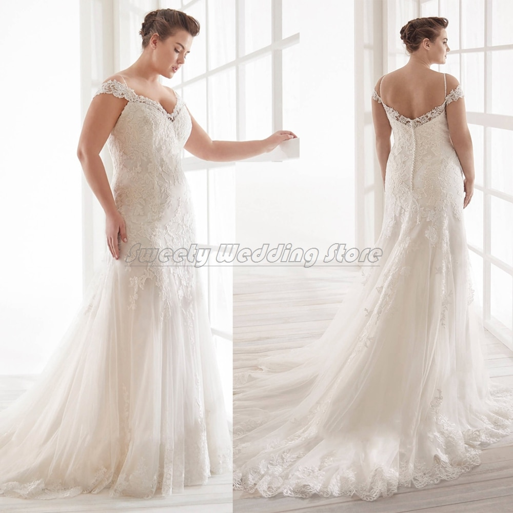 Promo 2021 Wedding Dress Plus Size Off The Shoulder V Neck Appliques Tulle Sweep Train Bridal Gowns Custom Mermaid Bride Dresses