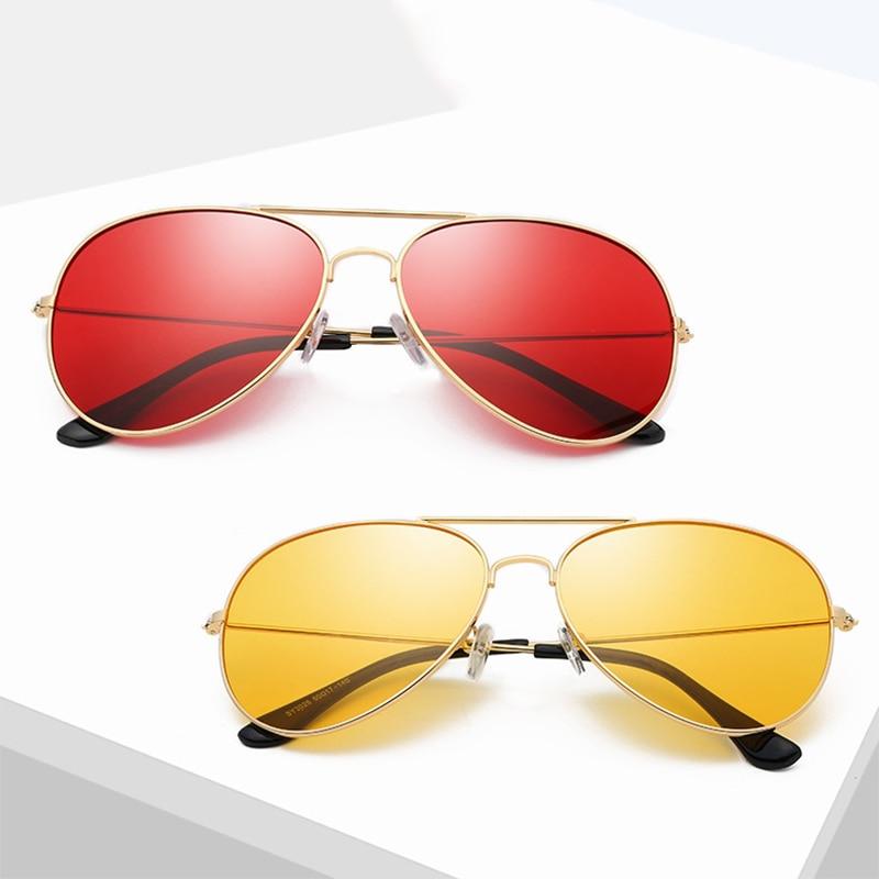 Classic Retro Pilot Ocean Colorful Sunglasses For Women Men  Unisex Aviation Metal Red Sun Glasses S