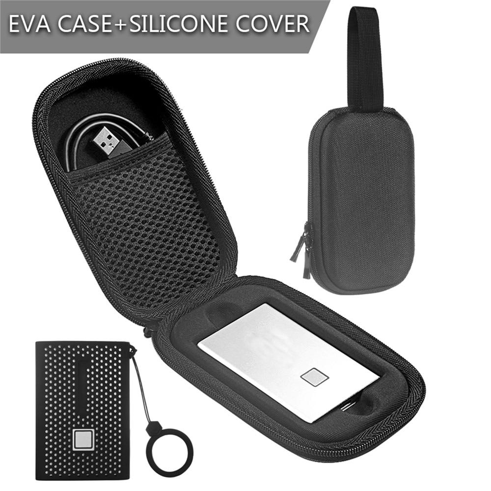 Funda de almacenamiento para Samsung T7 Touch portátil SSD unidades de estado sólido bolsa de almacenamiento a prueba de golpes EVA funda protectora con cubierta de silicona