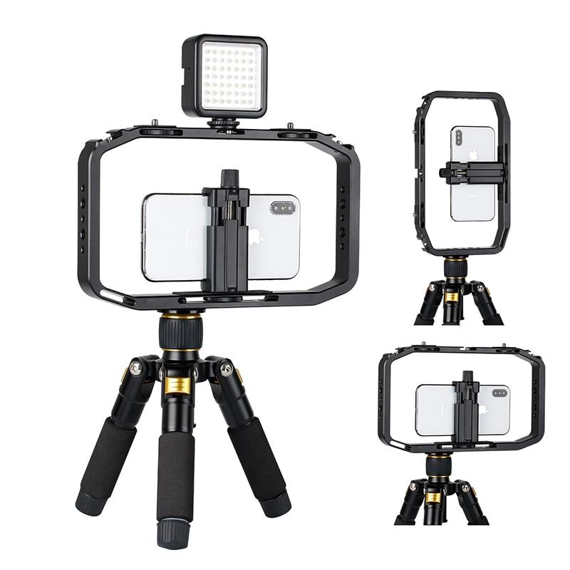 Smartphone DSLR Gopro Metal Video Rig Filmmaking Case Cage Phone Video Stabilizer Grip Tripod Mount Holder with Cold Shoe