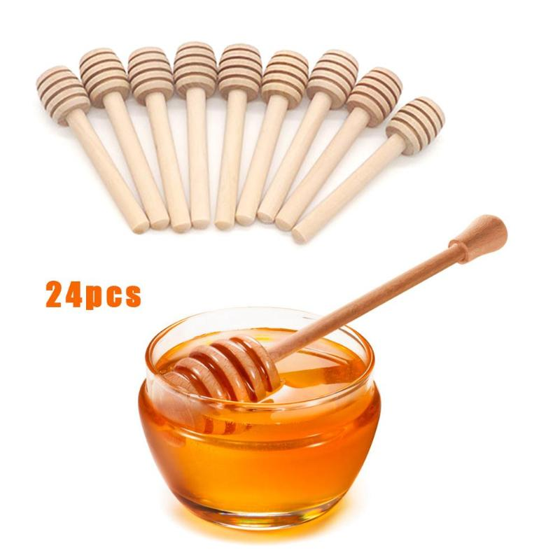 24 Uds Mini madera miel Dipper vajilla café té de la leche palos para agitar cuchara utensilios de cocina