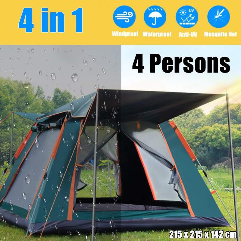 Aluminium Pol Automatische Outdoor Camping Wilden Zelt 3-4 Personen Markise Garten Pergola Wasserdichte Große Familie Zelte 215*215*142cm