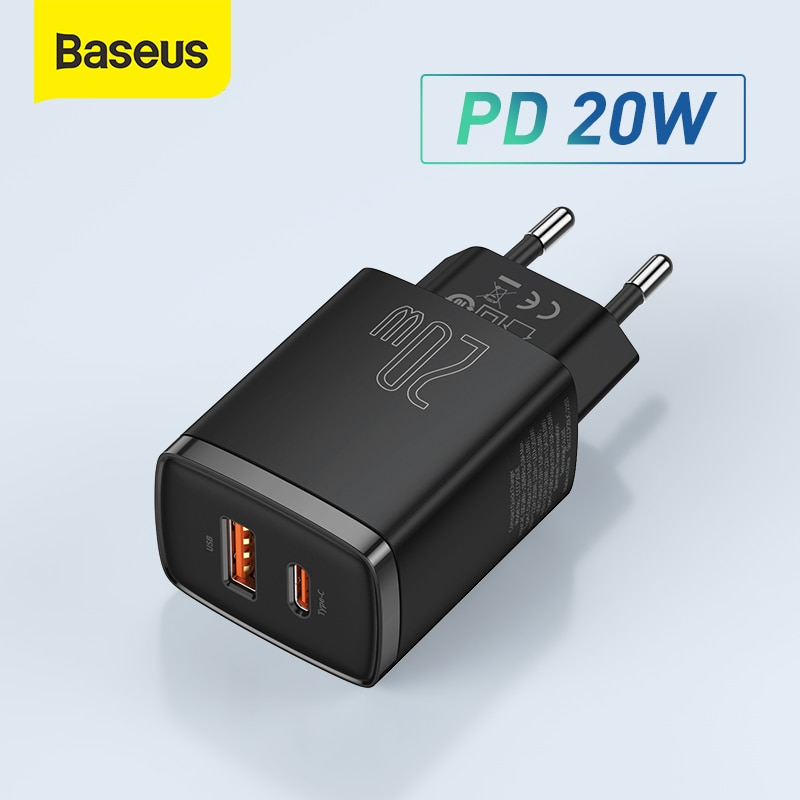 باسيوس شاحن USB 20 وات يدعم نوع C PD شحن سريع ثنائي منفذ USB شاحن هاتف محمول لايفون 12 برو ماكس 11 Mini 8 Plus