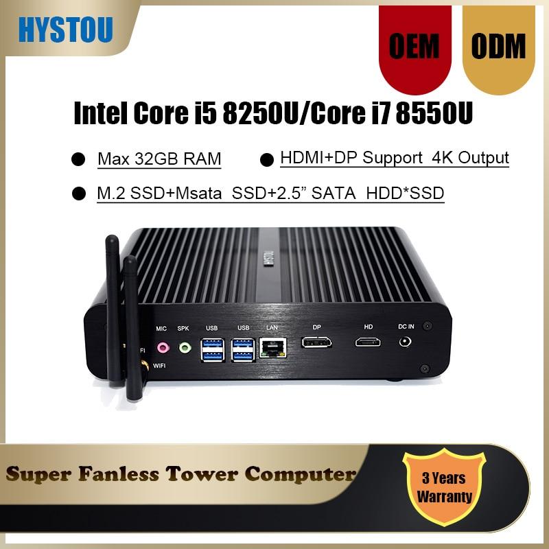 Intel Core i5 8250U Slim computadora i7 8550U Windows 10 pro Linux Lan WIFI Mini PC sin ventilador i5 7260U 7560U Iris Plus 640