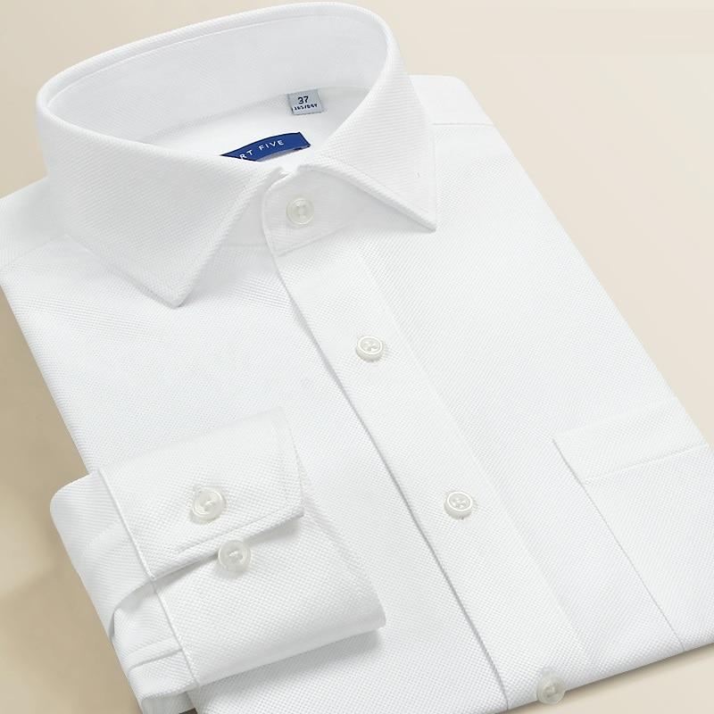 Smart Five suknia z okrągłym kołnierzem koszule męskie slim fit z długim rękawem bawełniane w paski koszule męskie białe biuro formalne Camisa Masculina