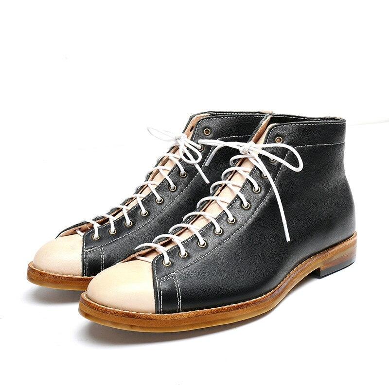 Botas de Ferramentas dos Homens Botas dos Homens do Vintage Tendência da Moda Botas de Deserto Alta-goodyear-welted Retro Sapatos Chelsea Vestido Preto Homens