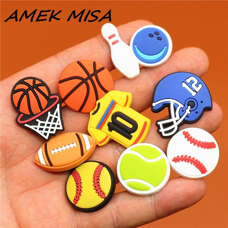 Single sale 19 Types of Ball PVC Shoe Charms Shoe Accessories Sandals Decoration for croc jibz kids