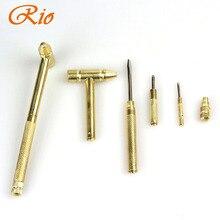 New 5 in 1 Micro Mini Multi Brass Hammer 4 kinds Screwdriver Bits Pocket DIY Tools