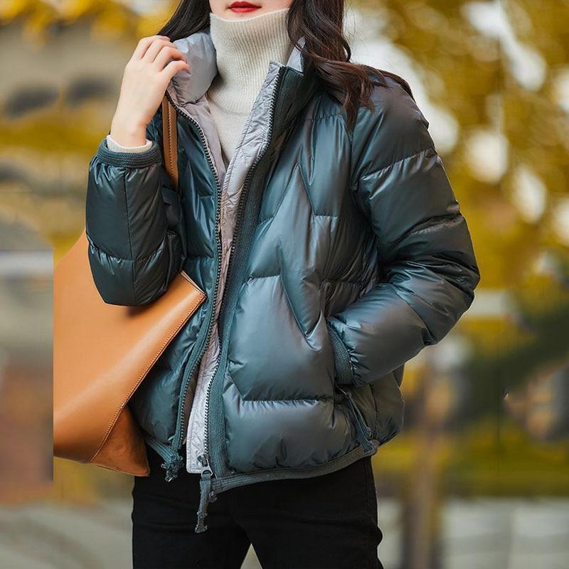 Парка женская длинная, Короткие пуховые куртки, Зимняя коллекция 2020, модные теплые женские пальто из хлопка на молнии