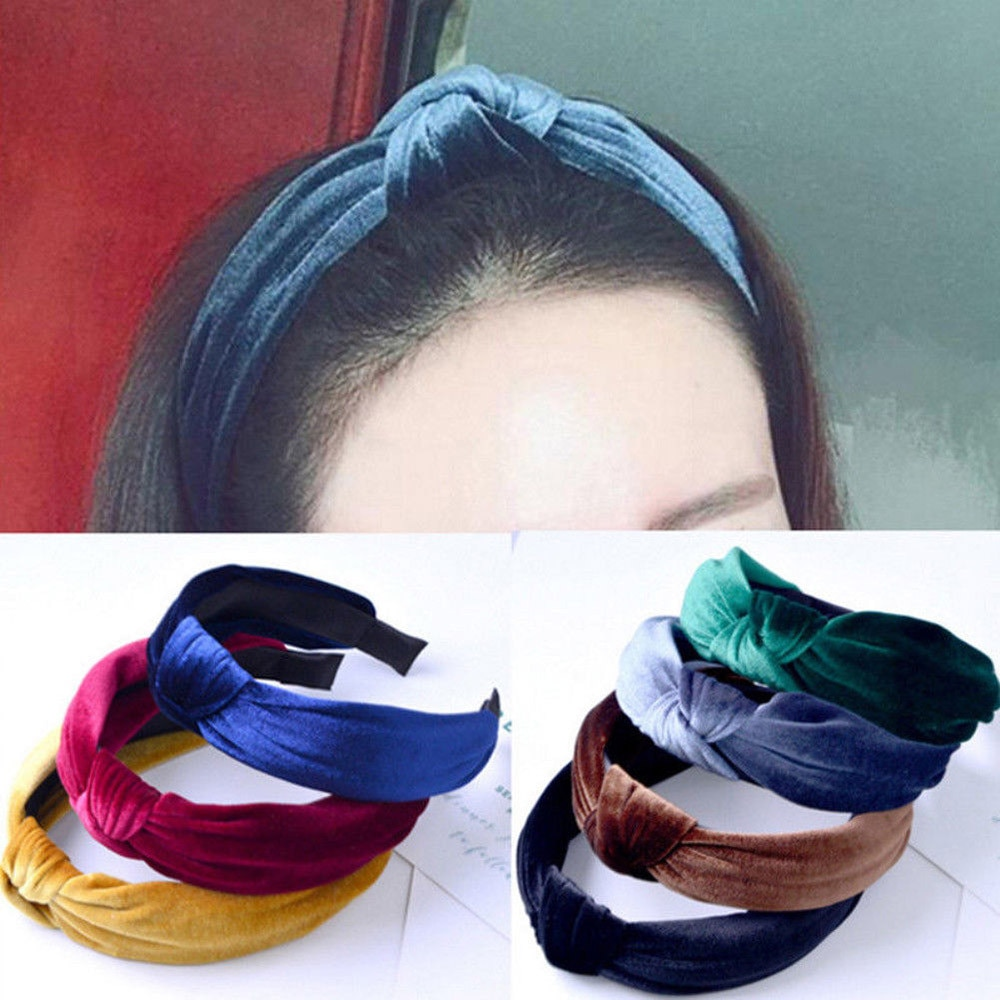 Womens Fashion Headband Cross Hair Band Wide Side Velvet Ladies Solid Color Exotic Hairband Accessoires заколки для волос