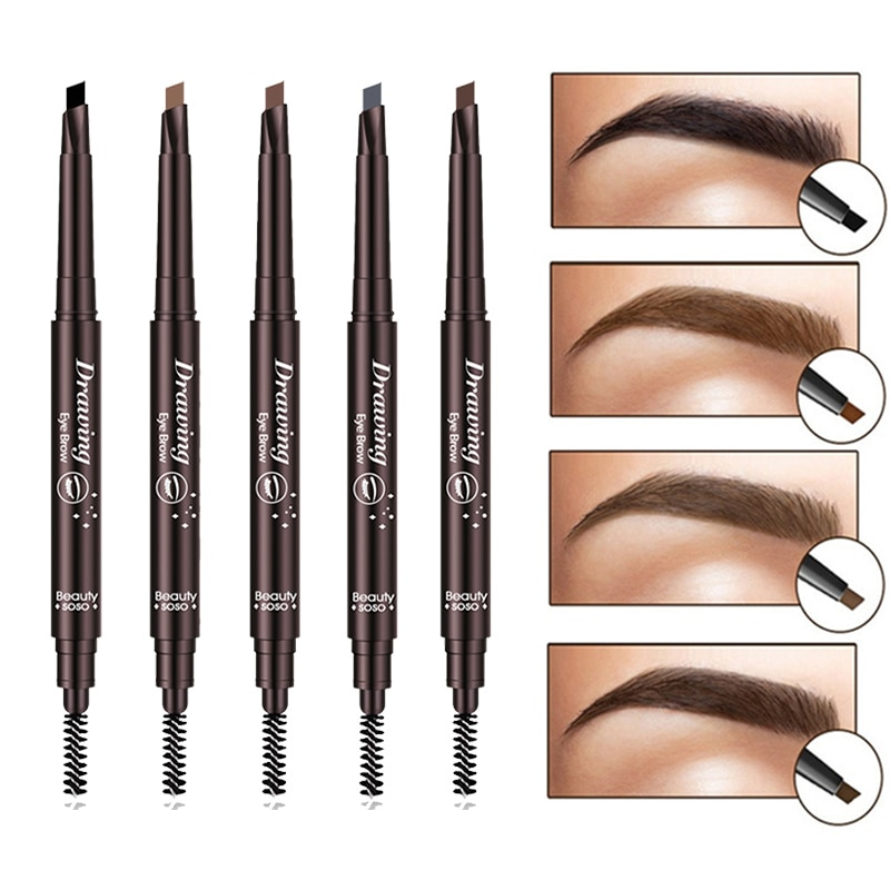 Lápiz de cejas cosméticos maquillaje tinte pintura Natural de larga duración tatuaje ceja impermeable negro marrón ojo maquillaje conjunto belleza