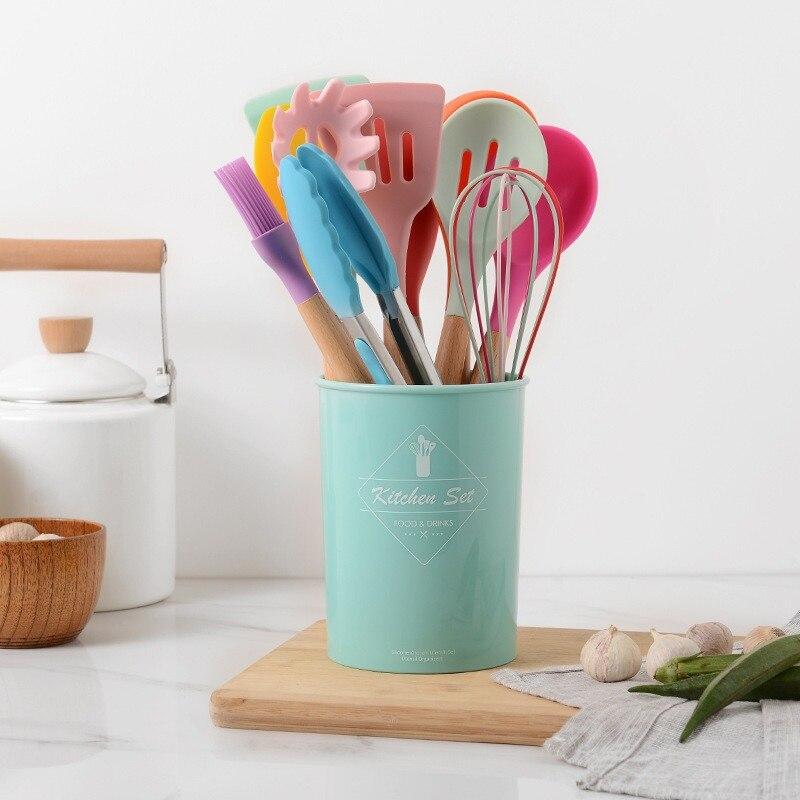 12 قطعة أدوات الطبخ سيليكون مجموعة غير عصا ملعقة مجرفة مقبض خشبي أدوات الطبخ مع صندوق تخزين اكسسوارات المطبخ