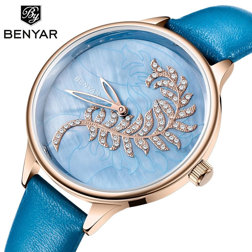 Relógio de Quartzo Importado à Prova Benyar Novo Relógio Feminino Moda Popular Movimento Dpopular Água Senhoras Elegante Simples