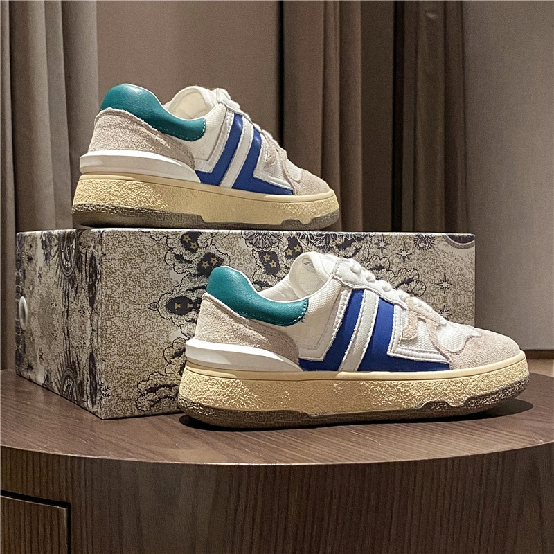 2021 New Calfskin White Shoes Women Casual Thick-Soled Women's Shoes Color Matching Sports Shoes Wom