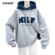NEEDBO MILF Hoodies Women's Sweatshirts Letter Print Lamb Wool Pullovers Loose Korean Style Jacket F