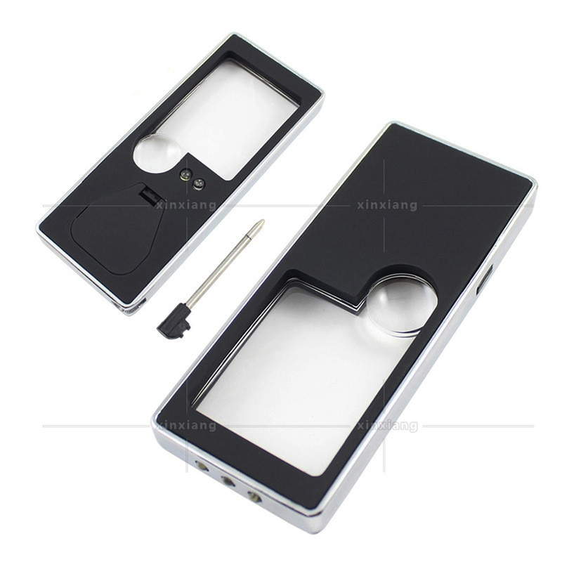 Handheld Illuminated Magnifier 10X 3X Portable 4 LED Lamp Black Magnifying Glass With Light Jewelry Loupe Reading