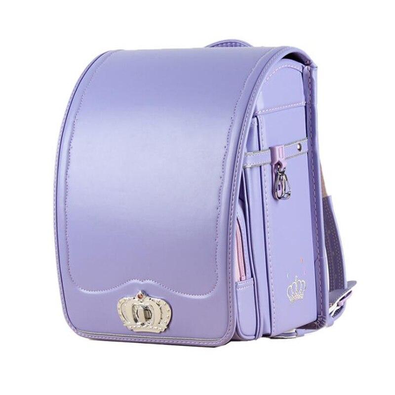 Ортопедический школьный ранец для мальчиков и девочек, роскошный японский рюкзак с автоматическим замком, однотонный детский портфель ...