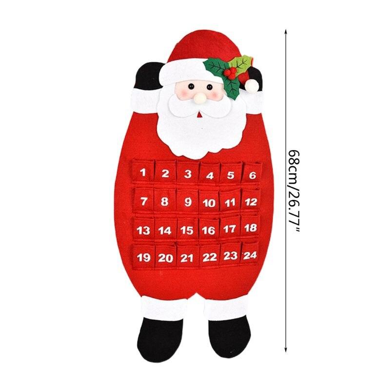3D fieltro Haning Adviento calendario reutilizable cuenta atrás para Navidad calendario 634E