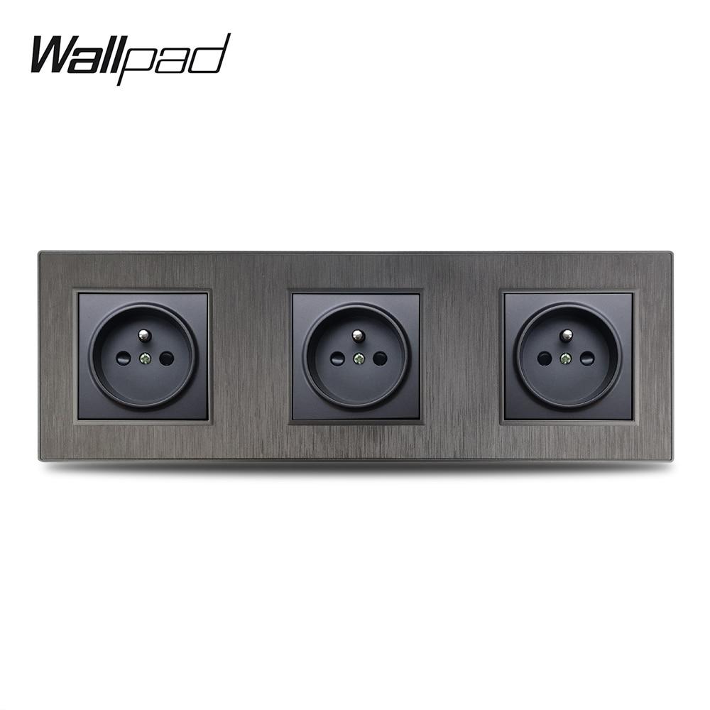 Wallpad-مقبس حائط من الألومنيوم المقلد ، 3 إطارات ، S6 ، أسود ، فضي ، ذهبي ، للكمبيوتر الشخصي ، ثلاثي ، فرنسي