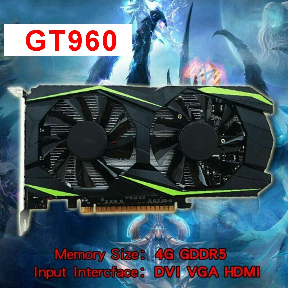 Gt960 4gb ddr5 metal pci-express duplo fã placa gráfica de mesa jogos hdmi preto seguro de poupança de energia 128bit hd vídeo liso