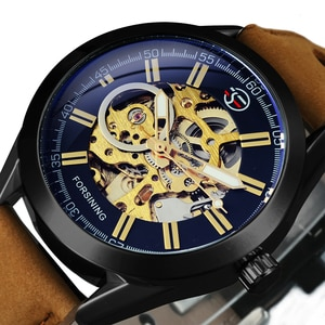 Forsining Blue Light Glass Male Fashion Sport Watch Military Automatic Man Mechanical Watches for Men Skeleton Luminous Clock