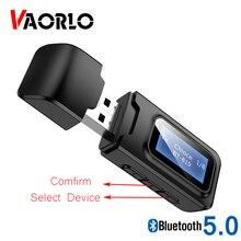 VAORLO-Adaptador USB 5,0 con pantalla LCD, dispositivo de conexión opcional, transmisor receptor Bluetooth para auriculares de TV, baja latencia, 2 en 1