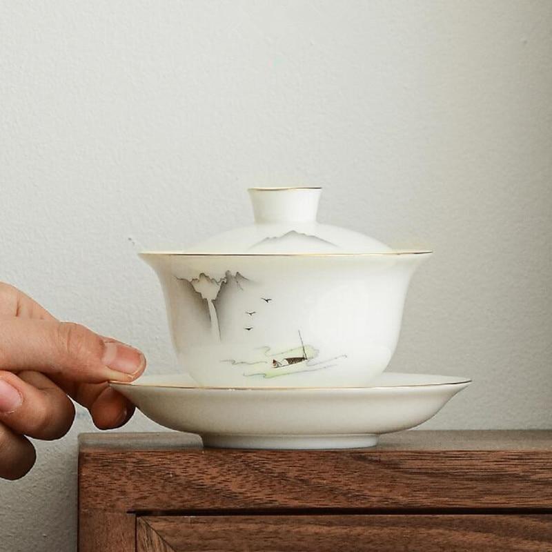 Suet اليشم Dehua الأبيض الخزف Sancai غطاء وعاء واحد غير حار Gaiwan فنجان شاي الكونغفو طقم شاي الشاي وعاء