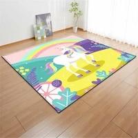 cartoon pink unicorn children bedroom bedside rug play game area rug doormat anti slip chair mat kids living room carpets