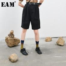 [Eam] cintura alta preto breve perna larga na altura do joelho calças novo solto ajuste calças femininas moda maré primavera outono 2020 1t023