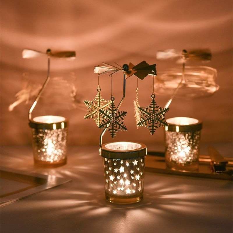 Candelabros giratorios, lámpara sin electricidad, candelabros con vela, molino de viento, tiovivo, luz de té, luces de Navidad