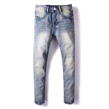 Italiaanse Stijl Mode Mannen Jeans Retro Blauw Kleur Slim Fit Ripped Jeans Mannen Klassieke Katoen Denim Broek Vintage Designer Jeans