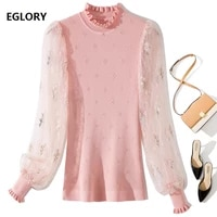 2021 spring summer fashion sweaters pullover women sexy see through lace patchwork long sleeve pink black jumpers casual tops
