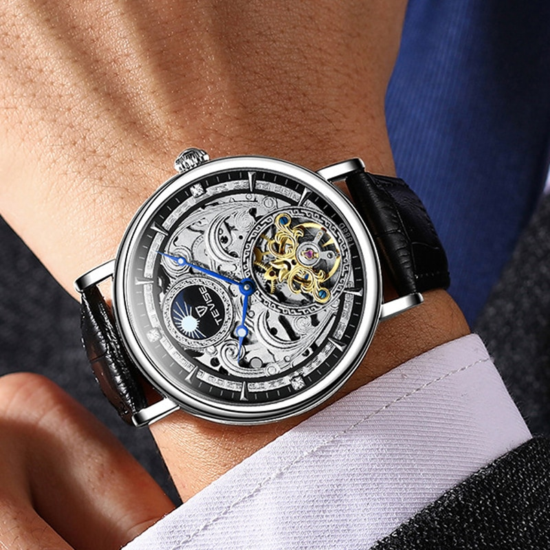 2021 NEW Skeleton Mechanical Automatic Watch Men Tourbillon Sport Clock Casual Business Moon Phase W