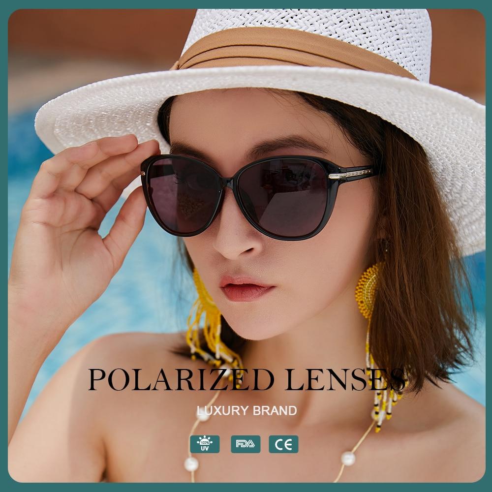 2021 Polarized Round Sunglasses Women Cat Eye Fashion Luxury Brand Designer Oversized Sun Glasses Vi