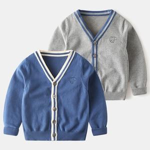 Children's sweater Boys and girls pure cotton cardigan coat sweater