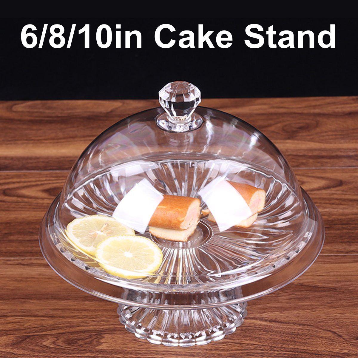 3 размера, прозрачная акриловая круглая подставка для торта, пищевая, ПК, пылезащитная крышка, стеклянная пищевая крышка, тарелка и крышка для свадьбы, дня рождения, Декор