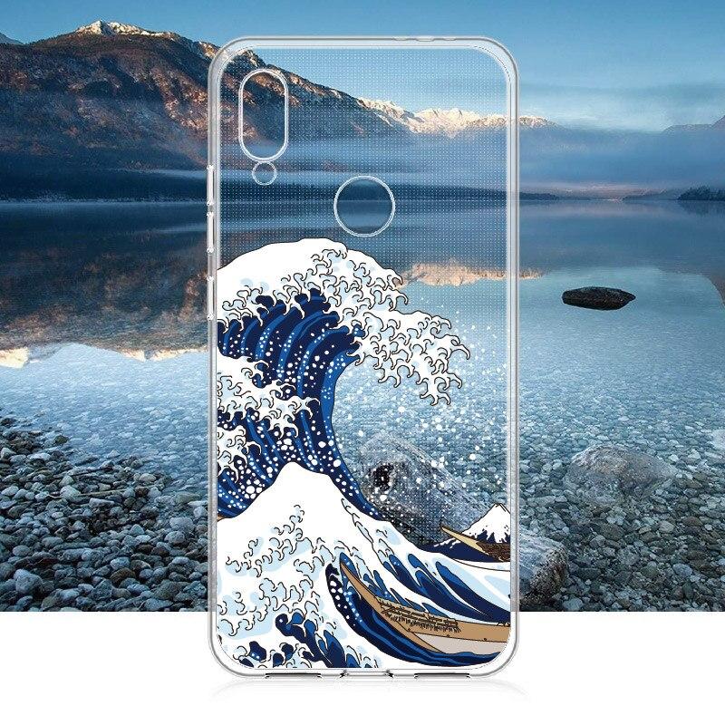 Мягкий прозрачный чехол из ТПУ с кристаллами Great Wave off Kanagawa для Xiaomi Mi Redmi Note 5 6 7 8 9 10 lite Pro Plus