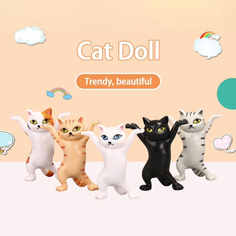 1PC Cute Cats Pen Holder Coffin Cat Doll Ornaments Plastic Earphone Support For Airpods Gift Home Table Decoration Accessories