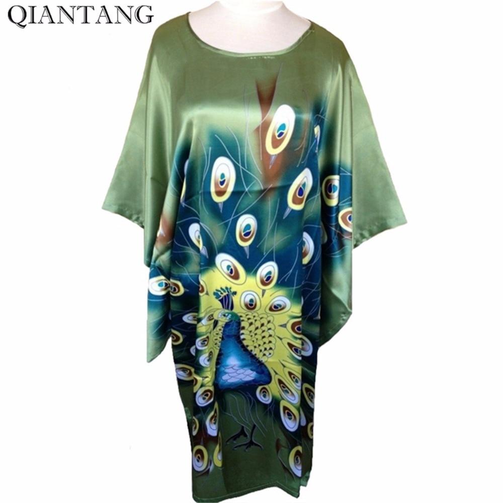 Hot Sale Green Ladies Robe Spring Chinese Women Rayon Sleepwear Loose Bath Gown Nightgown Peafowl One Size Mujer Pijama S4020