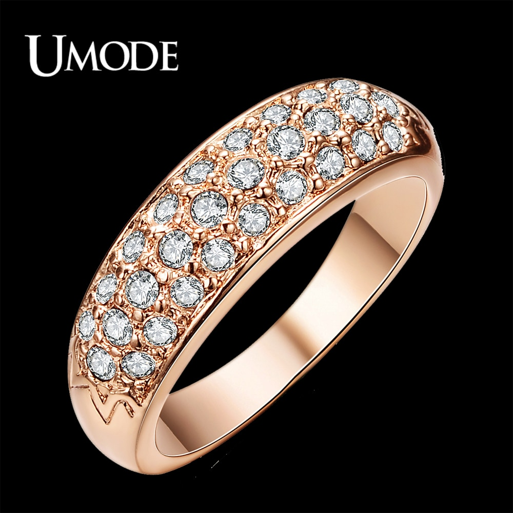 UMODE Klassische anillos mujer bague aros Rose Gold Farbe Strass Verzierte Finger Ringe JR0084A