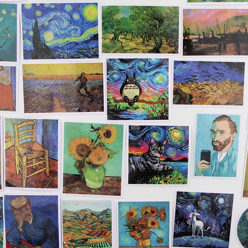 35 Uds. Vincent Willem van Gogh pegatinas para ordenador portátil DIY pegatinas para juguetes bolsas teléfono escritorio Laptop coches bicicleta impermeable