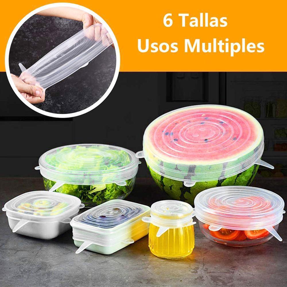 6 pçs silicone elástico tigela tampas reutilizáveis geladeira alimentos salada copos tampa do frasco silicone pan cozinhar rolhas de cozinha