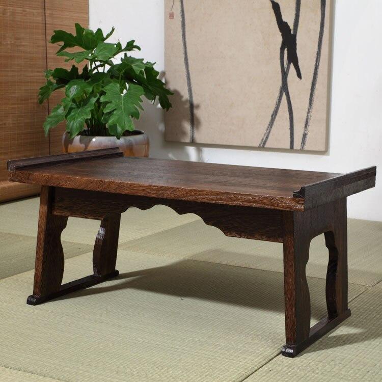 Bandeja estilo antiguo japonés mesa plegable pierna rectangular 80cm Paulownia madera tradicional Chabudai muebles asiáticos sala de estar mesa de té