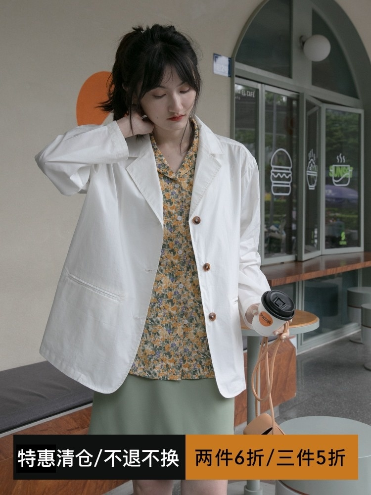 Suit Coat White Casual Suit Jacket Women's Thin Summer New Korean Loose Sunscreen Jacket