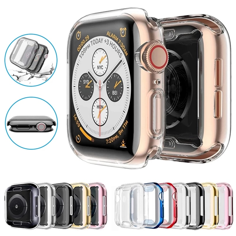 slim watch 360 cover for apple watch case 5 4 42mm 38mm soft clear tpu screen protector for iwatch 3 2 1 44mm 40mm accessories Slim Watch 360 Cover for Apple Watch Case 6 SE 5 4 3 2 1 42MM 38MM Soft Clear TPU Screen Protector for iWatch Series 5 44MM 40MM