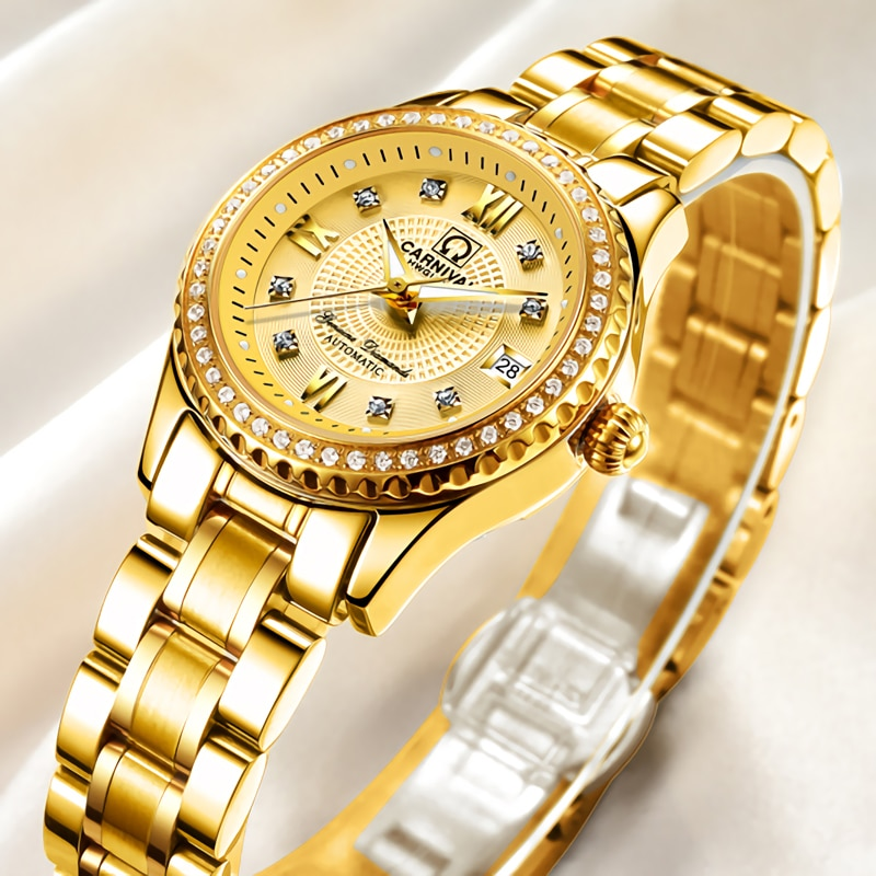 CARNIVAL Fashion Casual Ladies Calendar Luminous Waterproof Diamond Studded Stainless Steel Strap Automatic Mechanical Watches