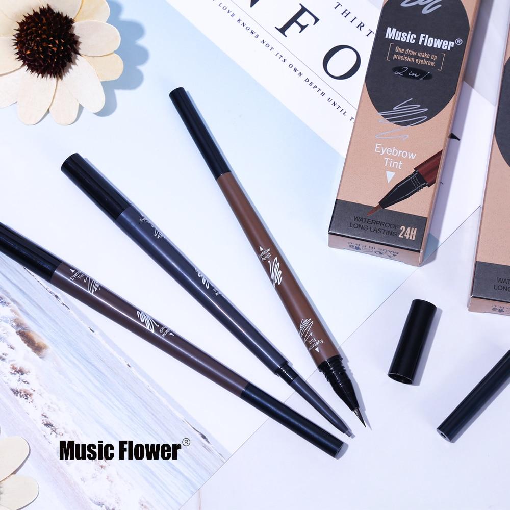 Музыкальный цветочный макияж, Двусторонний карандаш для бровей + жидкий карандаш для бровей, натуральная водостойкая стойкая 3 вида цветов для увеличения бровей