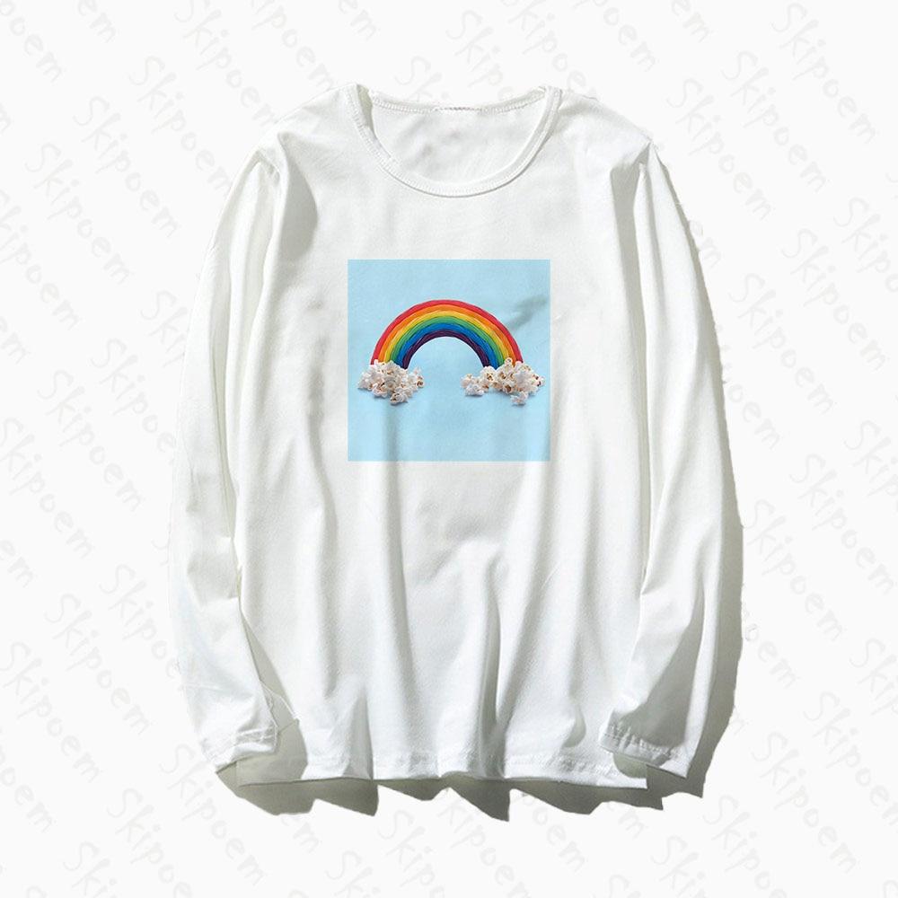 Arco iris con camiseta con palomitas mujeres estilo coreano Tumblr Vintage estético de talla grande de algodón de manga larga Camiseta, ropa Femme