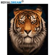 ROYALDREAM Fangs tijger Diy digitale schilderen door digitale moderne wall art foto's voor de muur thuis art werkt